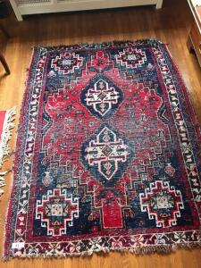 "60"" x 48"" worn woven rug and 33"" x 20"" woven burnt orange and country blue rug"