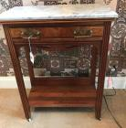 Antique Walnut 1 drawer table w/ marble top