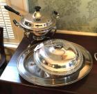 Silverplate covered serving bowl, tray, serving dish