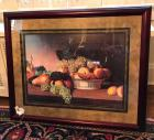 Framed and matted still life bountiful fruit