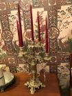 Beautiful ornate heavy brass 5 point candelabra