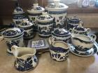 Lot of blue and white dishes