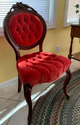 Wonderful Rose back chair with red velvet tufted seat and back cushion