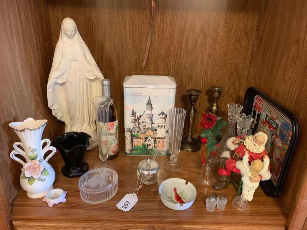 Qty 2 coke cola trays, coke cola santa, Mother Mary statue, vases