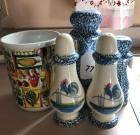 Utensil canister, rooster S&P shakers with 2 coordinating shakers