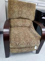 Reclining upholstered chair with wooden arms