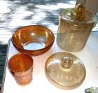 Carnival glass bowl and tumbler, etched cracker jar and extra lid