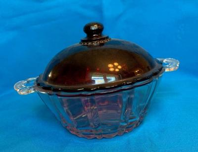Ruby and clear covered dish