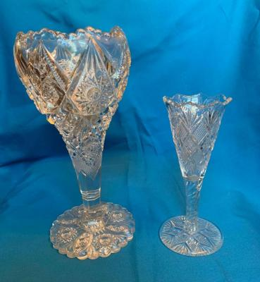 Two clear pattern glass vases