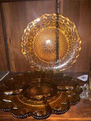 Amber glass divided dish, plate & vase