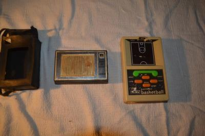 Orion super 12 transistor radio & Sears hand held electronic basketball