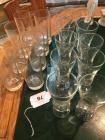 8 etched duck glasses; 10 clear glass