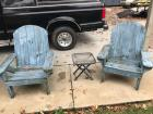 2 wood patio chairs; side table