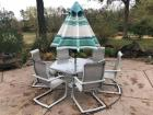 Octagon patio table w/ 6 chairs & umbrella