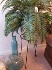 Glass Bottle; Metal Plant Stand; Artificial Plant