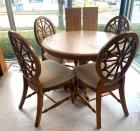 Round oak pedestal table w/4 wood framed side chairs