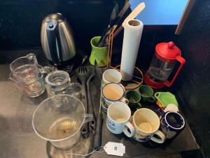 Coffee pot, french press, pour overs, coffee mugs, misc