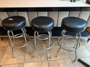 3 padded swivel top stainless bar stools
