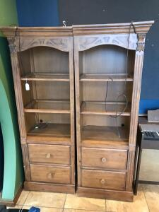 2 light up cabinets w/ 2 drawers