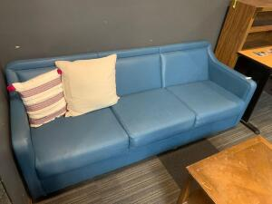 Blue vinyl couch