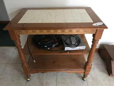 Rolling cart with tile insert top; cyber home DVD player and cables