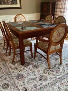 Custom built solid cherry dining room table & 6 chairs