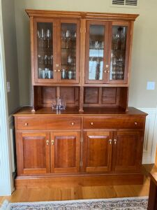 Custom built, solid cherry china cabinet