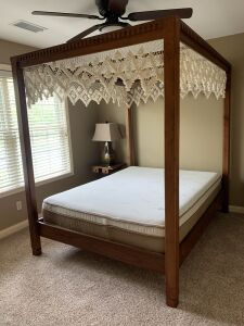 Custom made, solid black walnut queen poster bed with cotton lace canopy