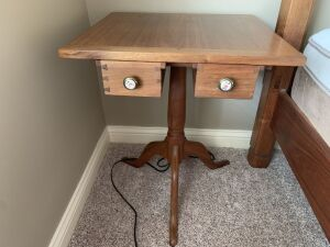 Handmade, solid walnut wood antique 2 drawer side table
