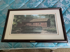 Jim Harrison signed and numbered print Red Covered Bridge