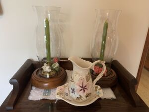 Pair of candle holders with wood base, small hand painted pitcher