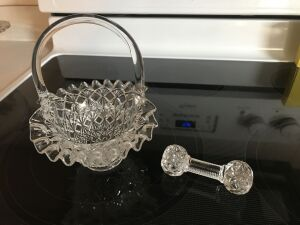 Pattern glass knife rest; glass basket