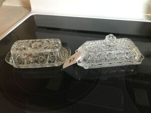 2 pattern glass butter dish,s