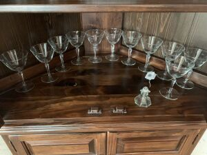 11 etched wine glasses