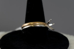 14K Yellow Gold Band and 14K Whitte Gold Ring with No Stone