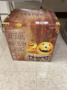 Holiday Living Pumpkins With Haystack Inflatable