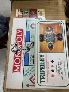 Playing cards, monopoly, Tripoley