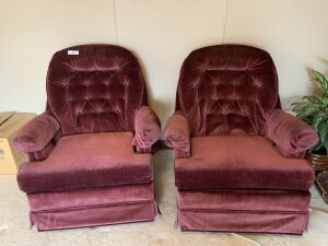 Pair of Maroon Swivel Rocker Chairs