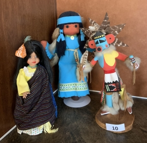 Two Native American Dolls, One Wood Native American Figure