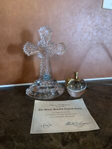 Lenox Jeweled Crystal Cross, Paper Weight, Glass Perfume Bottle, Elephant Music Box, and Light Up Glass Fairy