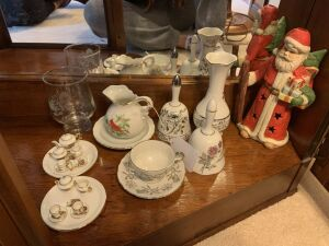 25th Anniversary cup and saucer, bells, Santa candle holder, Lefton mini pitcher and saucer, mini tea set
