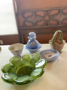 Avon pitcher and bowl set with soap dish, ceramic basket, tea cup