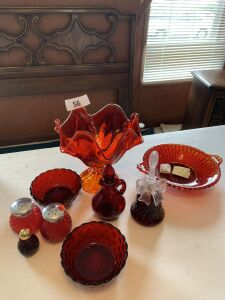 Red art glass vase, cruet, bells, salt and pepper shaker, bell