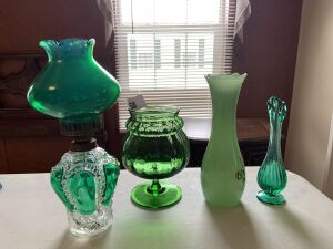 Green glass vases, small oil lamp
