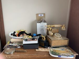 Telephone, paper fans, small picture holders,