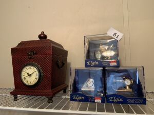 Three Elgin collectible mini clocks,