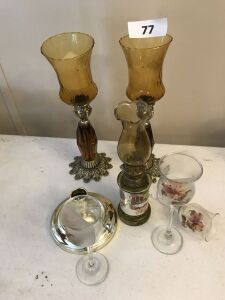 Candle holders; small oil lamp; stemware( 1 broken)