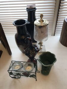 Vases; candle holder; ceramic umbrella brush holder; misc