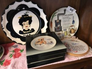 Mom plates; kitchen prayer plate; 3 Norman Rockwell