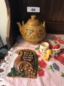 Ceramic tea pot; misc